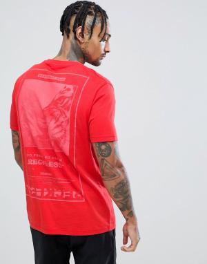 ASOS Свободная футболка с принтом тигра на спине DESIGN. Цвет: красный
