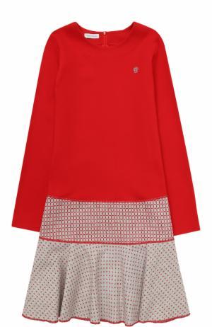 Мини-платье джерси с контрастной отделкой I Pinco Pallino. Цвет: красный