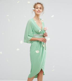 TFNC Платье миди с рукавами-кимоно и запахом на юбке WEDDING. Цвет: зеленый