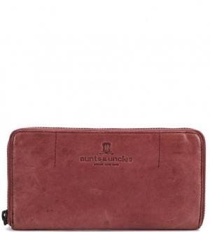 Бордовый кошелек из натуральной кожи aunts & uncles. Цвет: бордовый