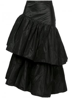 Асимметричная юбка с воланами Isa Arfen. Цвет: чёрный