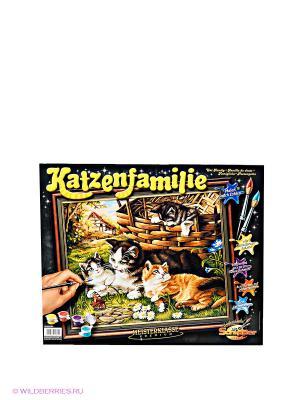Раскраска по номерам Семейство кошачьих Schipper. Цвет: зеленый, коричневый