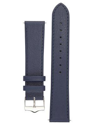 Гладкий ремешок для часов из кожи теленка с покрытием от царапин. Ширина 14 до 24 мм. Signature. Цвет: синий