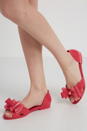 Однотонные сандалии Melissa. Цвет: фуксия