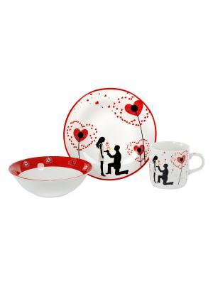 Посуда детская  в наборе 3 предмета, п/у. Elff Ceramics. Цвет: красный, белый