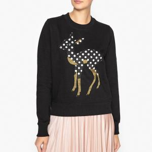 Свитшот Bambi с бисером и блестками OFFIE1 ESSENTIEL ANTWERP. Цвет: черный