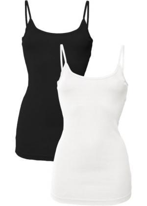 Топ на бретелях спагетти (белый + черный) bonprix. Цвет: белый + черный