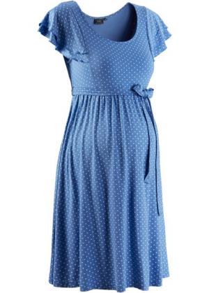 Праздничная мода для беременных: платье в горошек (небесно-голубой горошек) bonprix. Цвет: небесно-голубой в горошек