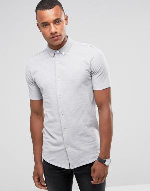 Jack & Jones Трикотажная рубашка с короткими рукавами Premium. Цвет: серый