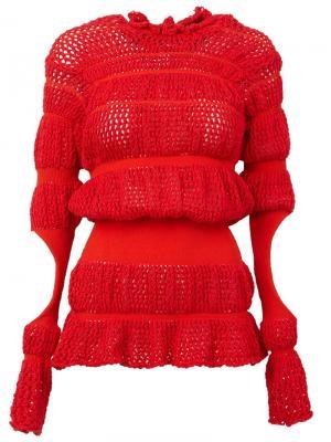 Вязаный свитер с вырезами Helen Lawrence. Цвет: красный