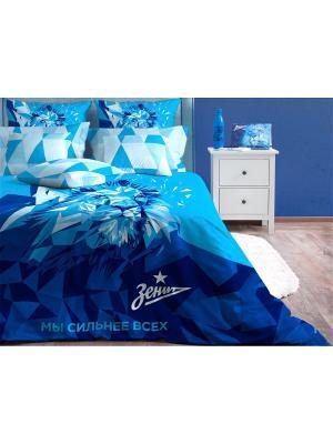 Двуспальное постельное белье Хлопковый Край. Цвет: белый, синий