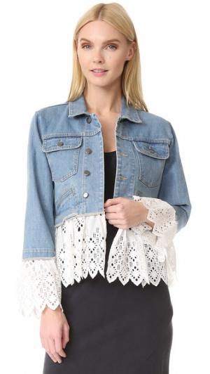 Многослойный пиджак из денима с прорезями Sea. Цвет: белый