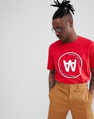 Wood Красная футболка с большим логотипом Seal. Цвет: красный