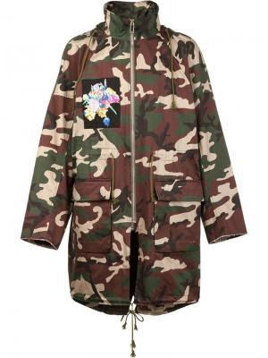 Камуфляжное пальто  X Nobuyoshi Araki Christian Dada. Цвет: зелёный