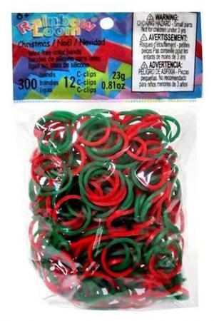 Резинки силиконовые RAINBOW LOOM. Цвет: зеленый, красный