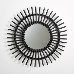 Винтажное зеркало Nogu из ротанга в форме солнца La Redoute Interieurs. Цвет: черный