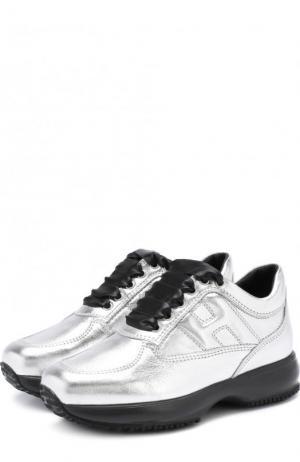 Кроссовки из металлизированной кожи на толстой подошве Hogan. Цвет: серебряный