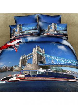 Постельное белье Britain 2,0 сп. Buenas Noches. Цвет: голубой, синий