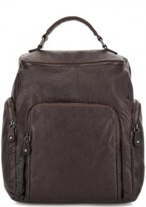 Кожаный рюкзак с узкими лямками Bruno Rossi. Цвет: коричневый