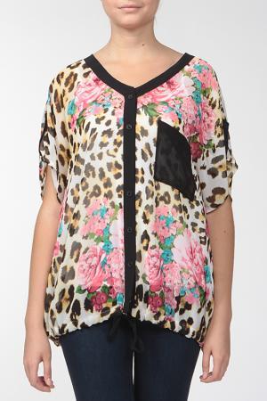 Комплект: блузка, топ KRATOS. Цвет: кремовый, розовый