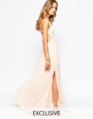 Goldie Платье макси с открытой спиной. Цвет: розовый