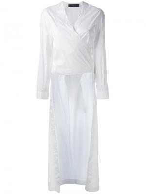 Рубашка с неравномерным подолом и запахом Federica Tosi. Цвет: белый