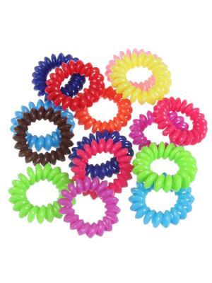 Глянцевые резинки - спиральки для волос, набор 15 штук Радужки. Цвет: коричневый, голубой, красный, желтый