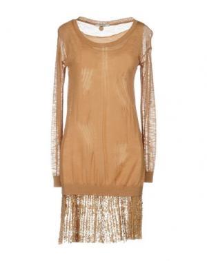 Короткое платье REBEL QUEEN. Цвет: коричневый