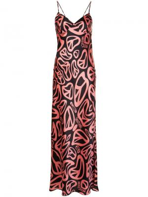 Длинное платье с принтом пацифика Moschino. Цвет: розовый и фиолетовый