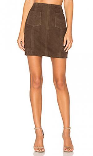 Замшевая юбка jipsone MKT studio. Цвет: коричневый