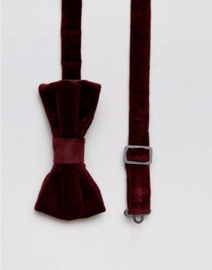 Devils Advocate Однотонный бархатный галстук-бабочка. Цвет: красный