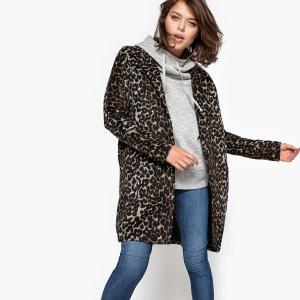 Пальто с леопардовым принтом SCHOOL RAG. Цвет: леопардовый рисунок