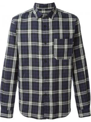 Рубашка в клетку Trevor A.P.C.. Цвет: синий