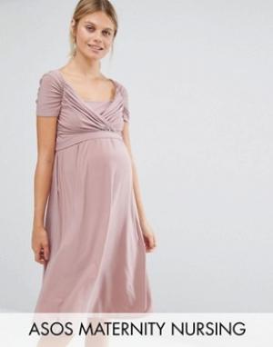 Queen Bee Свободное платье для кормящих мам. Цвет: розовый