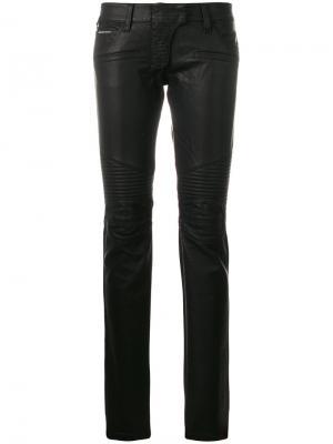 Байкерские брюки Philipp Plein. Цвет: чёрный