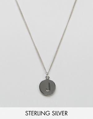 Fashionology Sterling Silver J Initial Necklace. Цвет: серебряный