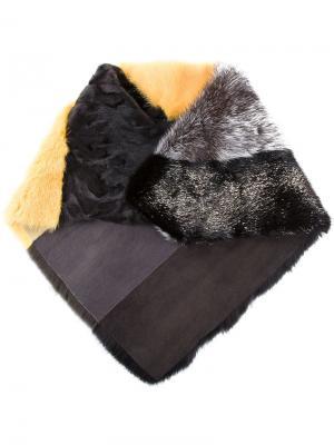 Полосатый шарф в стиле колор-блок Liska. Цвет: жёлтый и оранжевый