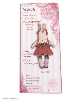Набор для шитья и вышивания текстильная игрушка Зайка Уля-рыжуля Матренин Посад. Цвет: белый