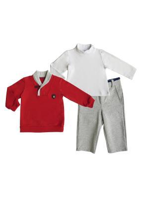 Комплект (водолазка+брюки+джемпер), Спортивная Академия Soni kids. Цвет: красный