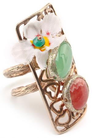 Кольцо Estrosia. Цвет: золотой, зеленый, красный