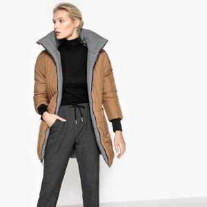Куртка двусторонняя покроя оверсайз La Redoute Collections. Цвет: серый меланж/охра
