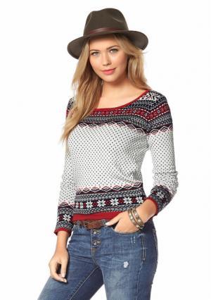Пуловер AJC. Цвет: темно-синий/белый/красный/серый
