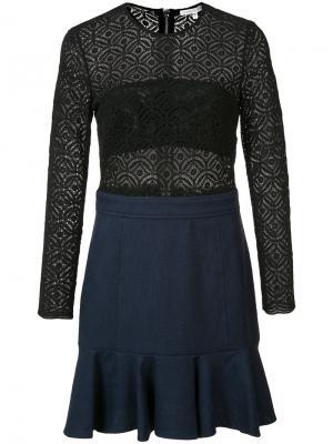 Кружевное платье с длинными рукавами Veronica Beard. Цвет: чёрный