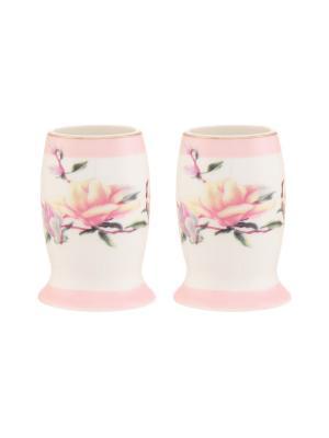 Набор из 2-х вазочек под зубочистки Орхидея на розовом Elan Gallery. Цвет: розовый