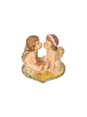 Фигурка декоративная Ангелочки на золотом сердечке Elan Gallery. Цвет: бежевый, золотистый, коричневый