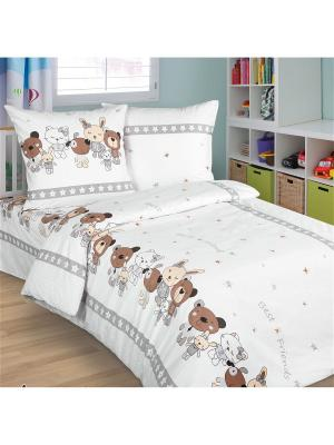 Комплект в кроватку из поплина, простыня на резинке ARKADY. Цвет: серый, белый