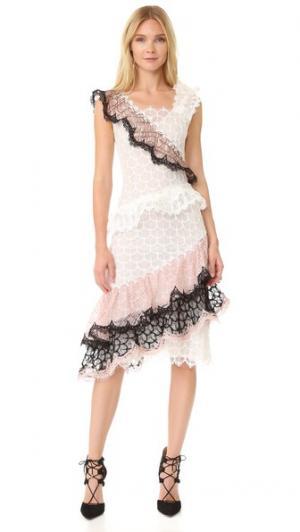 Оборчатое кружевное платье Rodarte. Цвет: белый/черный/персик