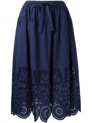 Юбка А-образного силуэта с перфорацией Muveil. Цвет: синий