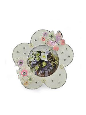 Фоторамка Цветок, розовая, металлическая со стразами, формата 8х8см PLATINUM quality. Цвет: белый