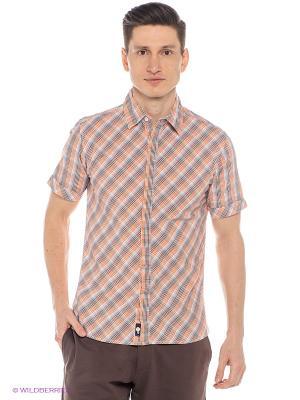Рубашка Mavango. Цвет: оранжевый, синий, коричневый